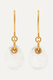 Pippa Small 18-karat gold moonstone earrings