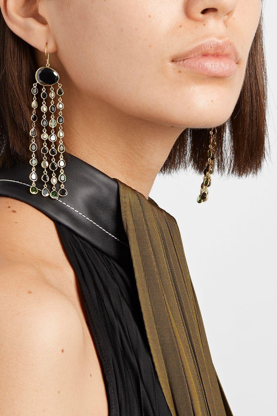 Pippa Small Ohrringe aus 18 Karat Gold mit mehreren Steinen