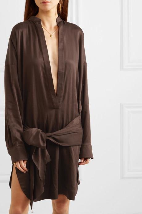 + NET SUSTAIN tie-detailed Lyocell mini dress