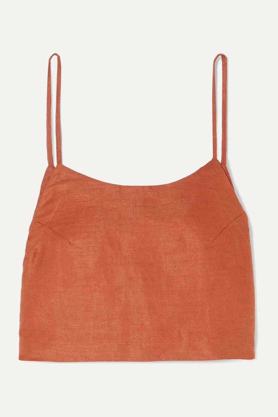 BONDI BORN Cropped linen-twill camisole