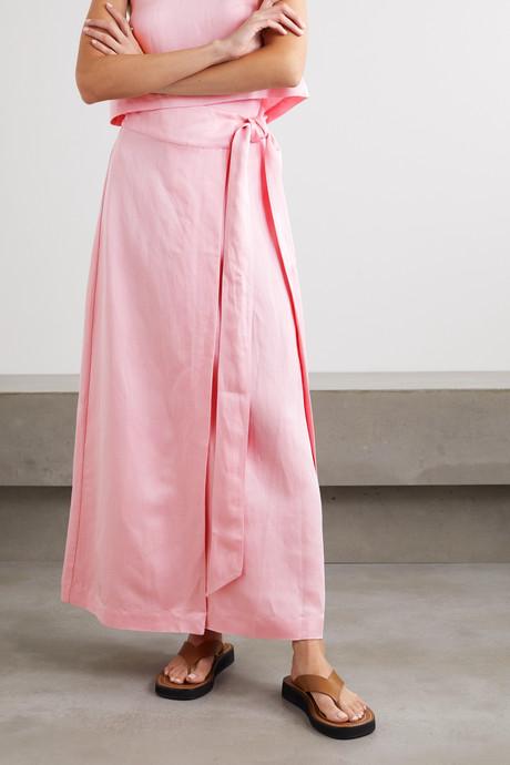 Woven wrap maxi skirt