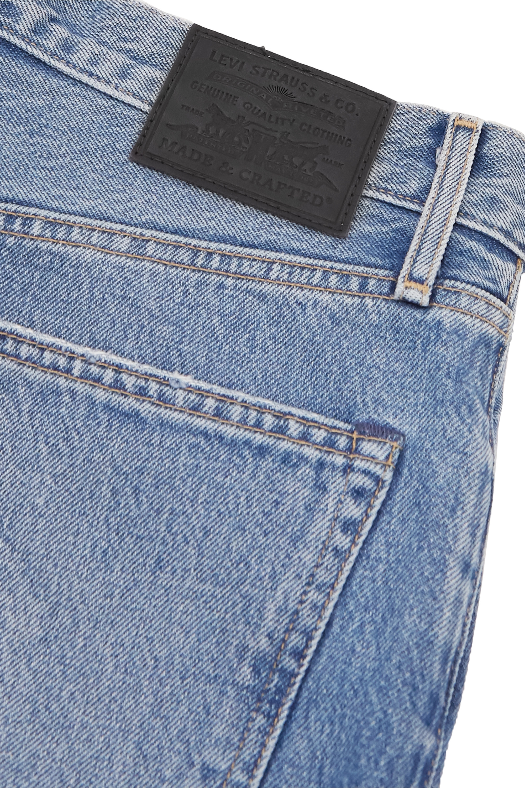 Levi's® Made & Crafted® Barrel cropped distressed high-rise wide-leg jeans