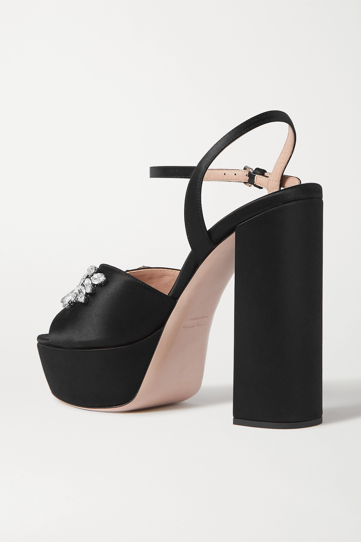 Miu Miu Crystal-embellished satin platform sandals