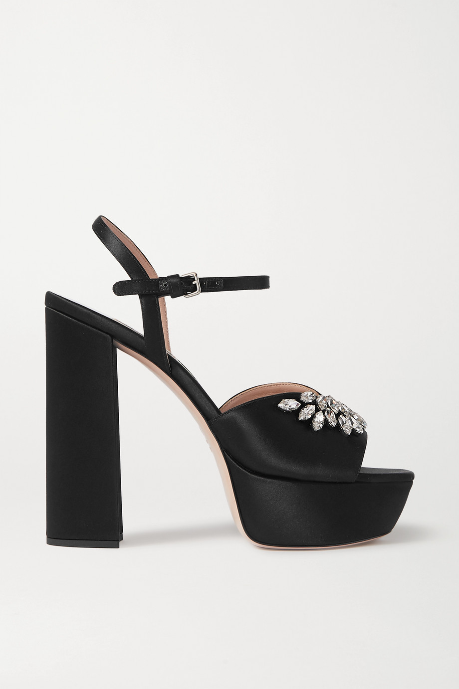 Miu Miu Crystal-embellished satin platform sandals