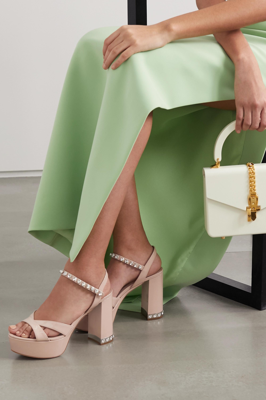 Miu Miu Crystal-embellished patent-leather platform sandals