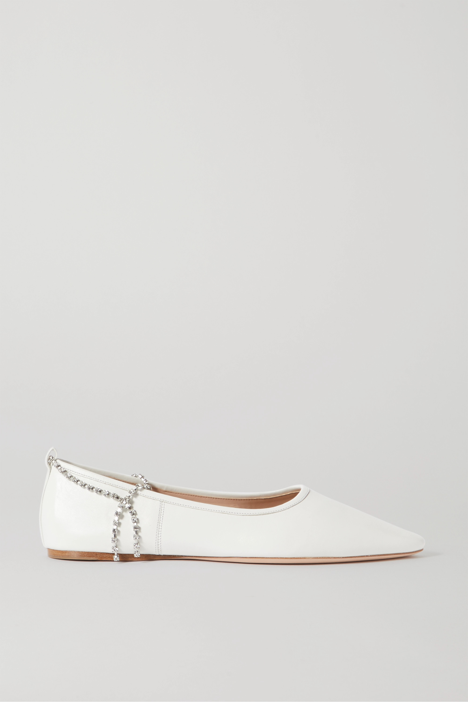 Miu Miu Crystal-embellished leather point-toe flats