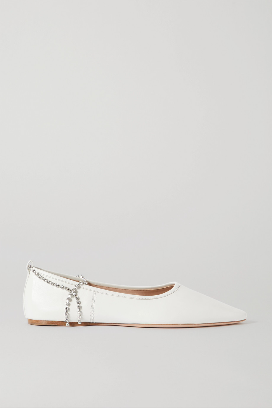 Miu Miu Crystal-embellished leather point-toe flats