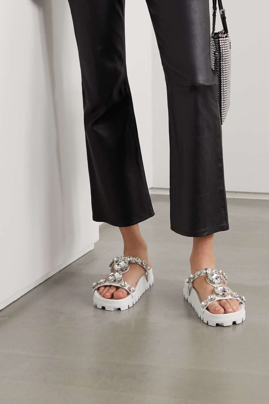 Miu Miu Crystal-embellished leather slides