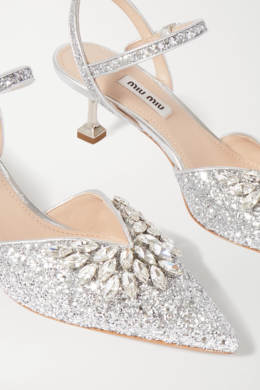 Miu Miu Crystal-embellished glittered leather slingback pumps