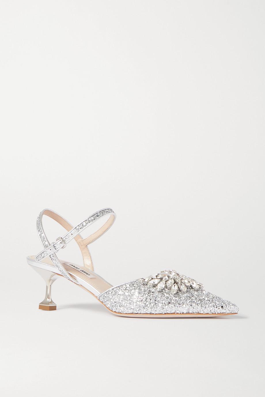 Miu Miu Escarpins à brides en cuir pailleté à cristaux