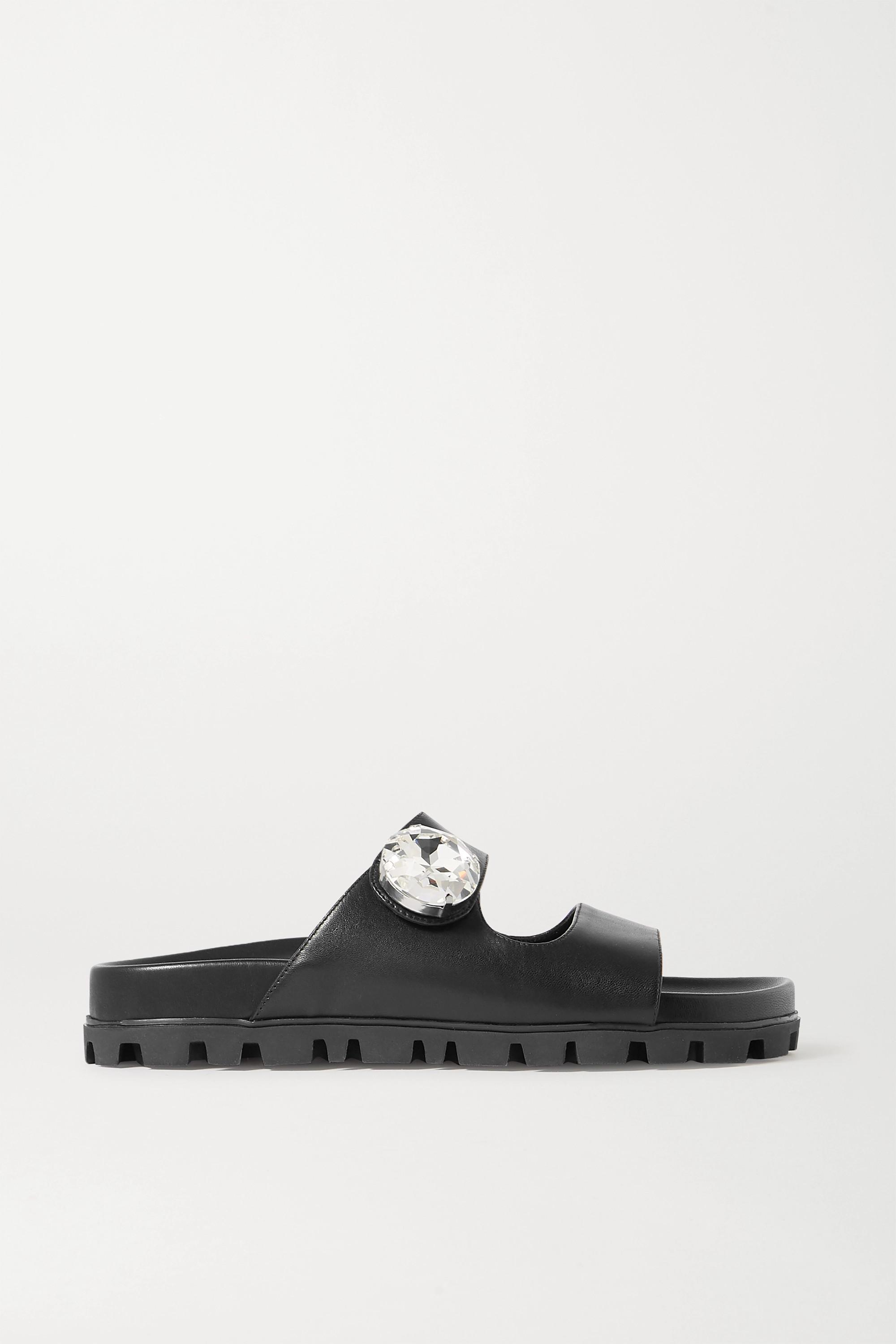 Miu Miu Crystal-embellished leather slides