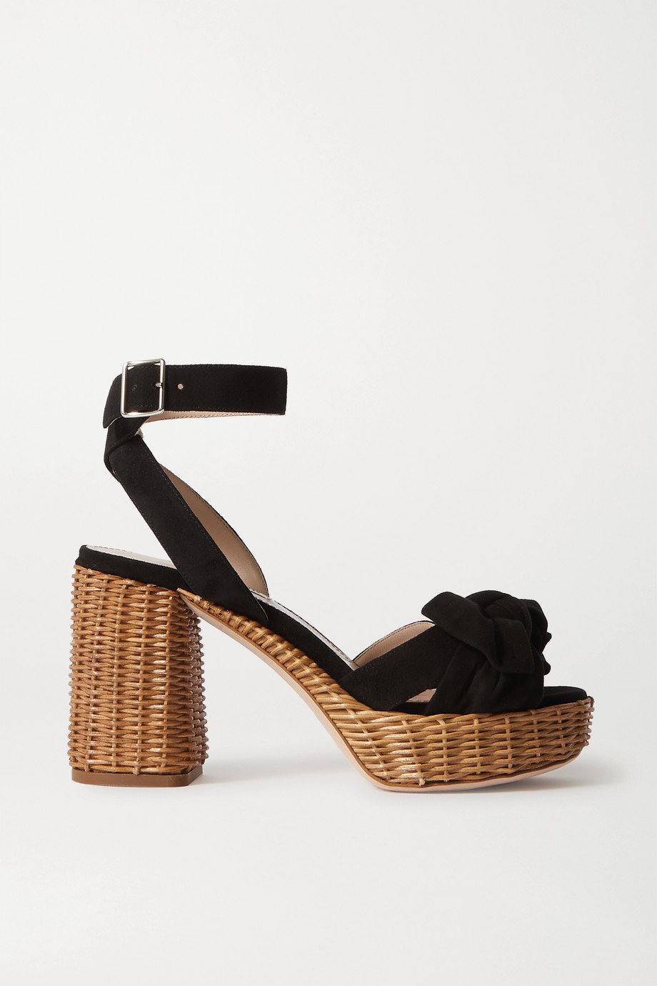 Miu Miu Suede and raffia platform sandals