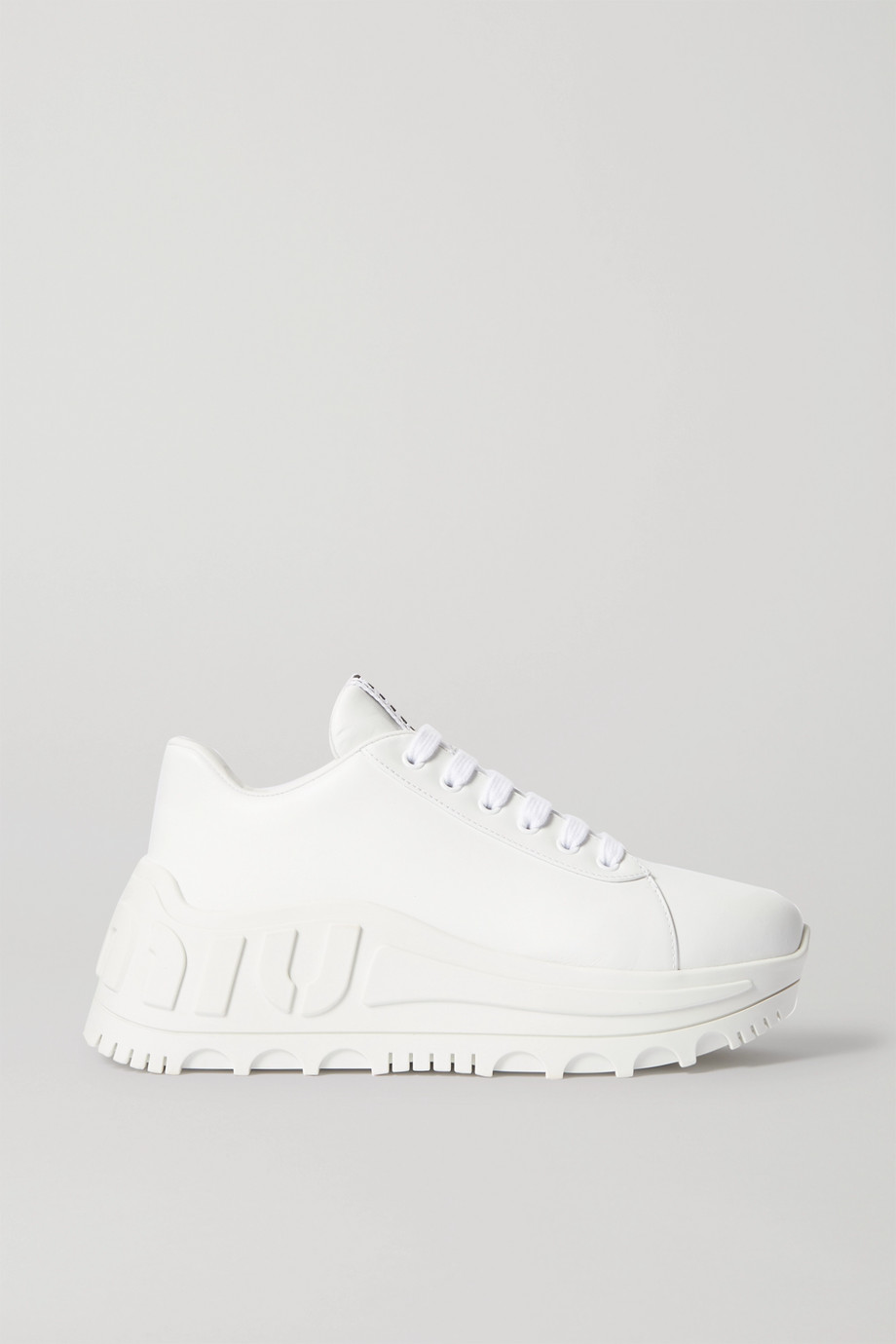 Miu Miu Logo-embossed leather sneakers