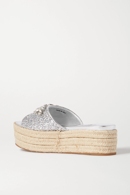 Miu Miu Espadrille-Pantoletten aus Leder mit Glitter-Finish, Plateau und Kristallen