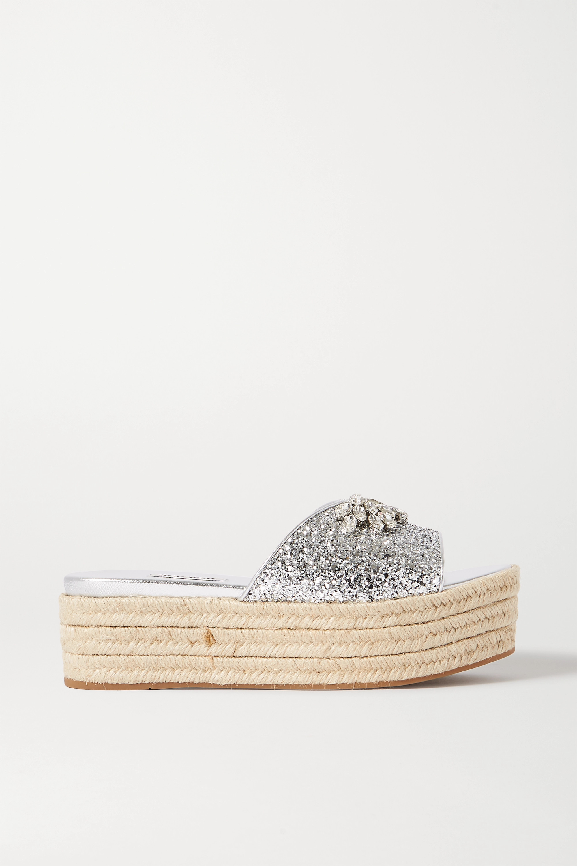 Miu Miu Crystal-embellished glittered leather espadrille platform slides