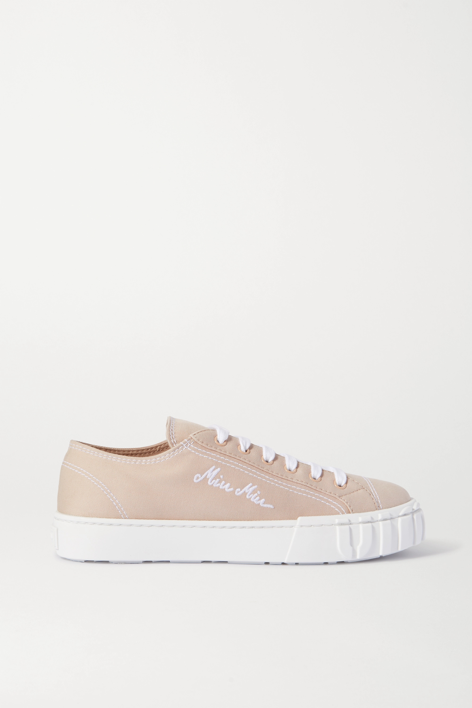 Beige Embroidered canvas sneakers | Miu