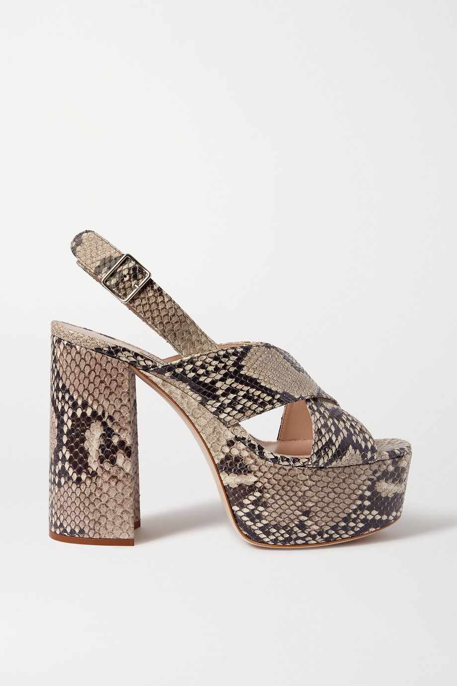 Miu Miu Snake-effect leather platform sandals