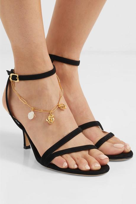 The Wondering Traveller embellished suede sandals