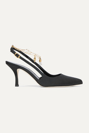 The Initial Spark embellished faille slingback pumps