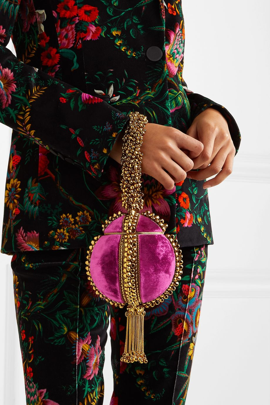 Mae Cassidy Babi Bracelet tasseled embellished velvet clutch