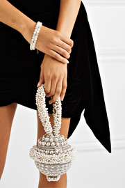 Mae Cassidy Semi-of-Pearl embellished silver-tone clutch