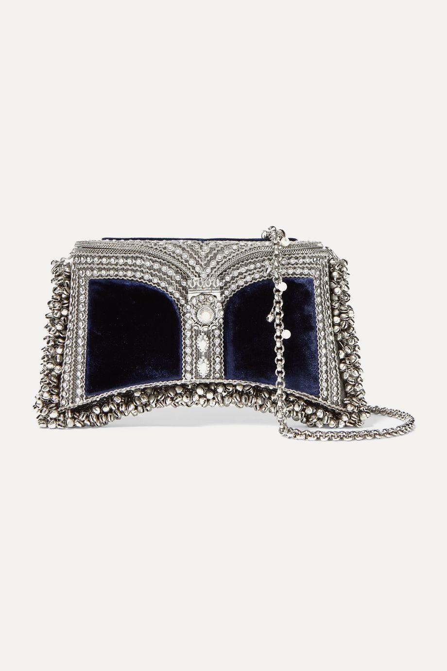 Mae Cassidy Zeenat embellished velvet clutch