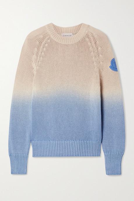Sand Ombré open-knit cotton sweater | Moncler e66Xy3