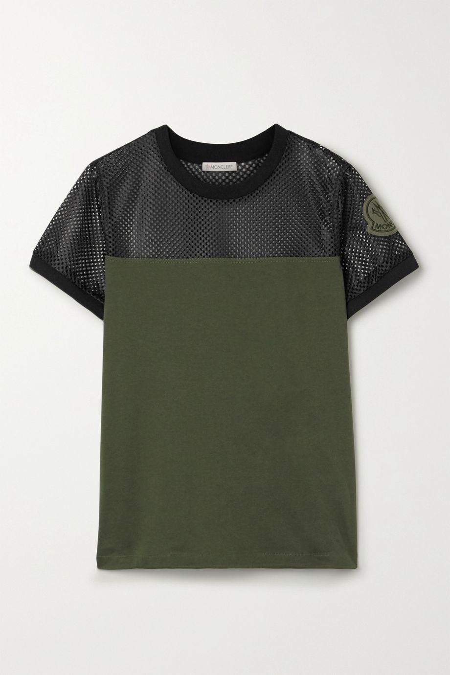 Moncler Appliquéd mesh and cotton-jersey T-shirt