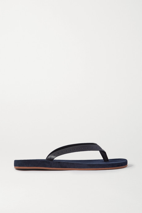 Navy My LP topstitched leather-trimmed suede flip flops | Loro Piana 8S9FS2