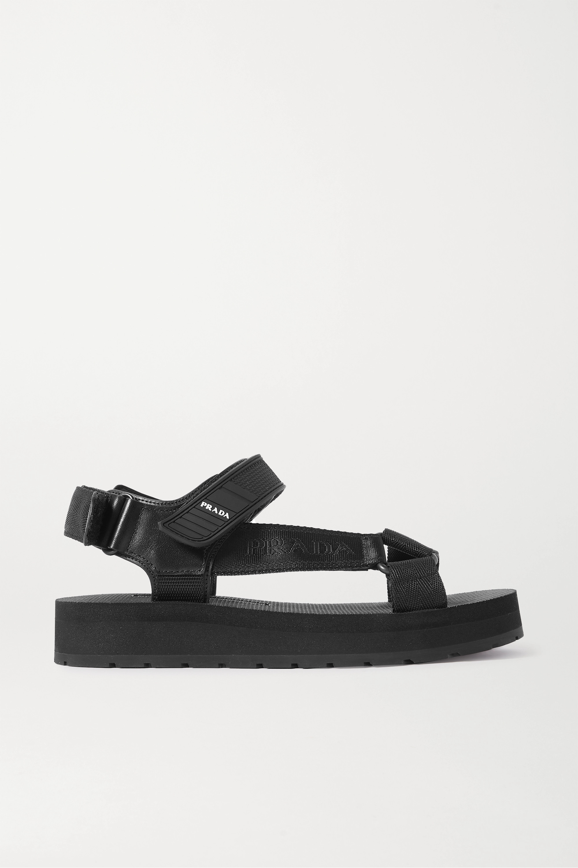 Prada Nomad logo-print rubber and leather-trimmed canvas sandals
