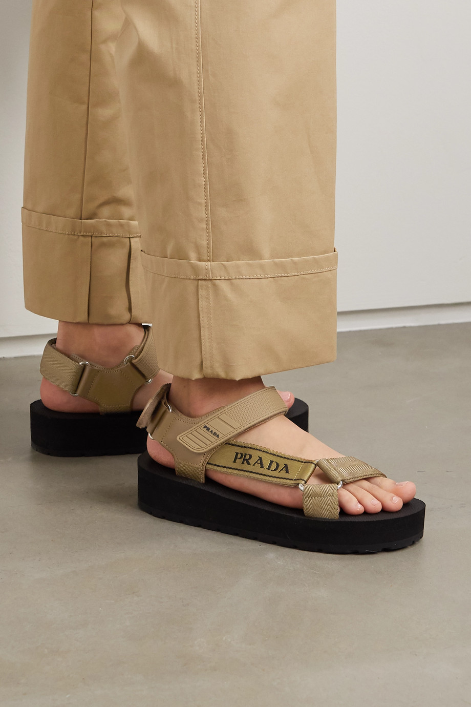 Prada Nomad logo-detailed rubber and leather-trimmed canvas sandals