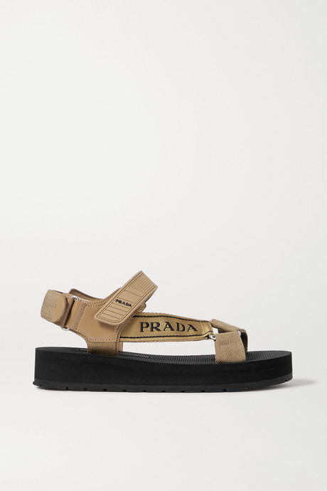 Beige Nomad logo-detailed rubber and leather-trimmed canvas sandals | Prada LHyuZg