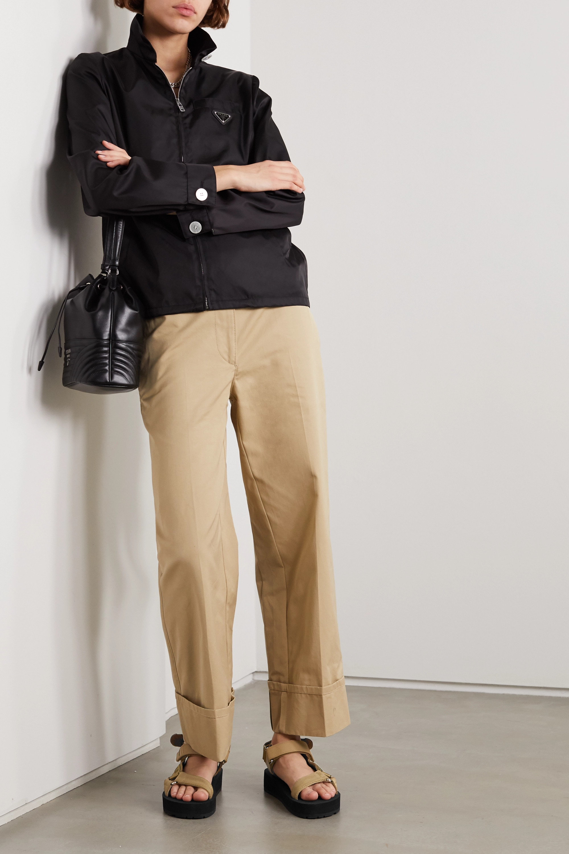 Prada Nomad Sandalen aus Canvas und Gummi mit Logo und Lederbesätzen