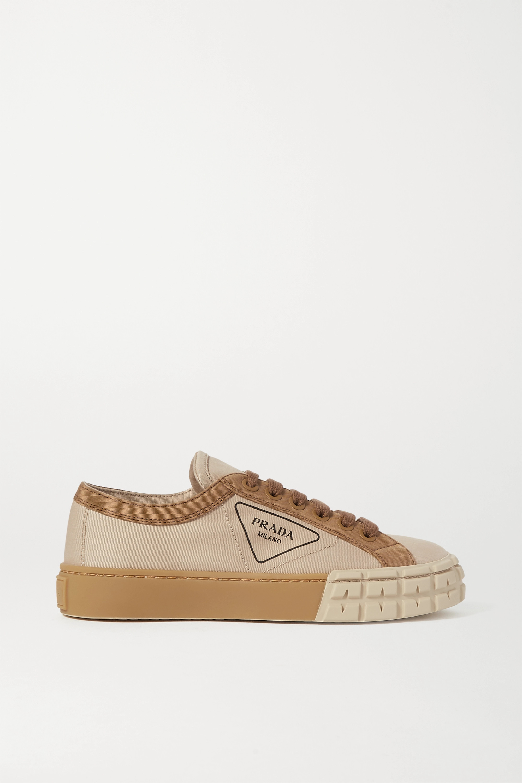 Beige Logo-print gabardine sneakers