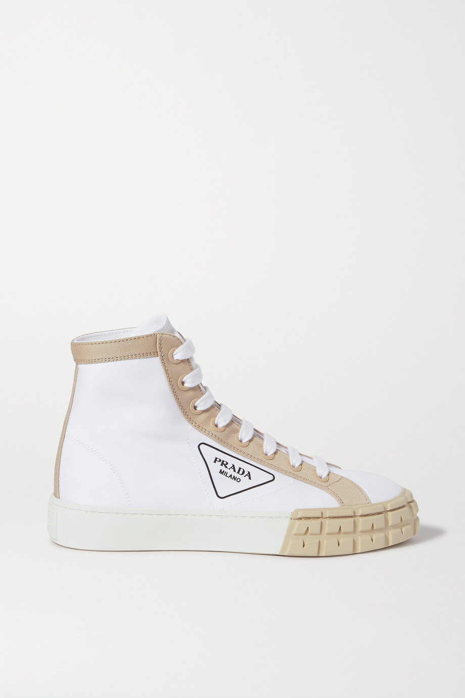 Prada Logo-print two-tone gabardine high-top sneakers