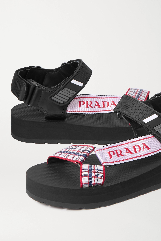 Prada Nomad Sandalen aus kariertem Canvas und Gummi mit Lederbesätzen und Logoprint