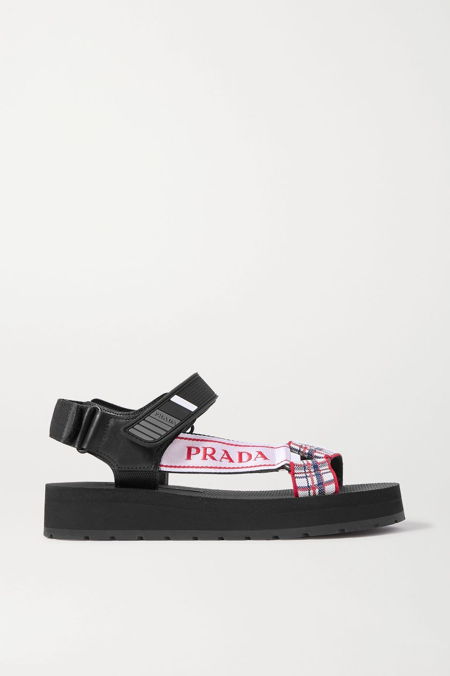 Prada Nomad logo-print rubber and leather-trimmed checked canvas sandals