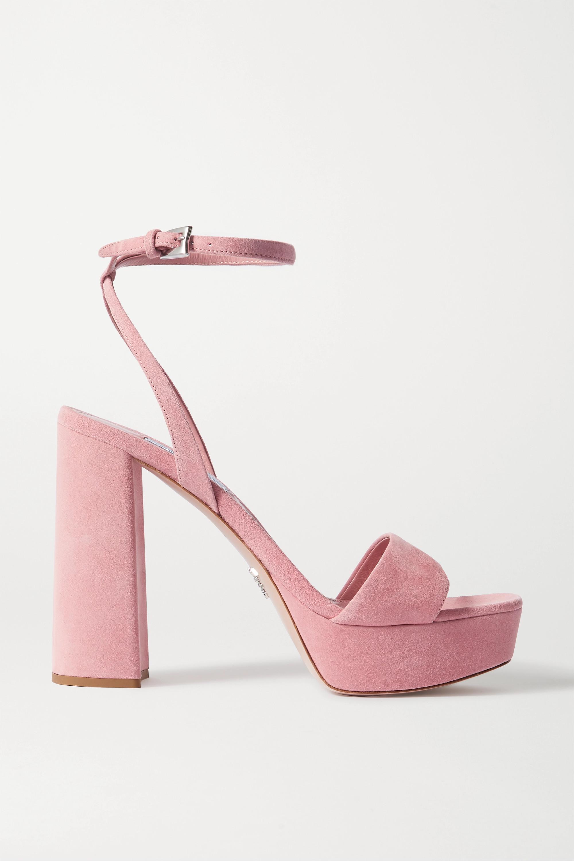 Baby pink 115 suede platform sandals
