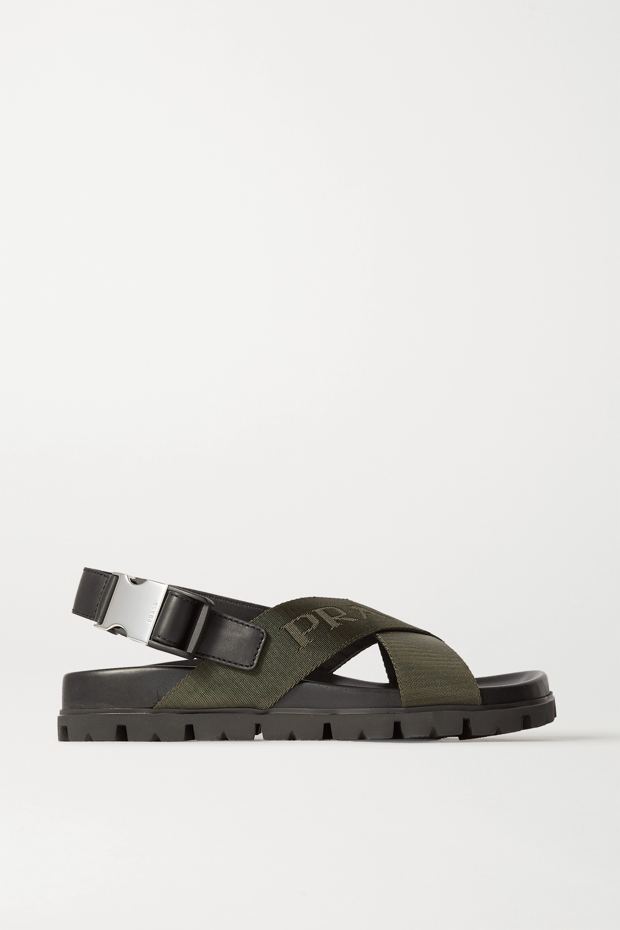 Prada Logo-detailed leather and canvas sandals
