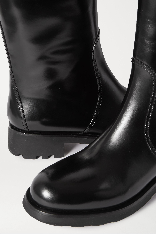 Prada 40 kniehohe Stiefel aus Glanzleder