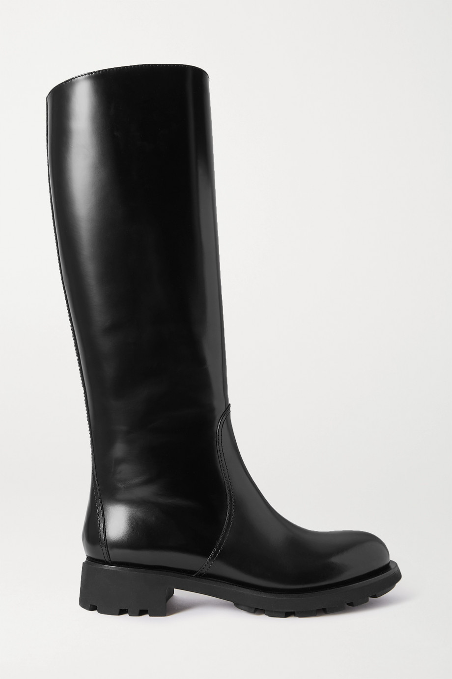 Prada 40 glossed-leather knee boots