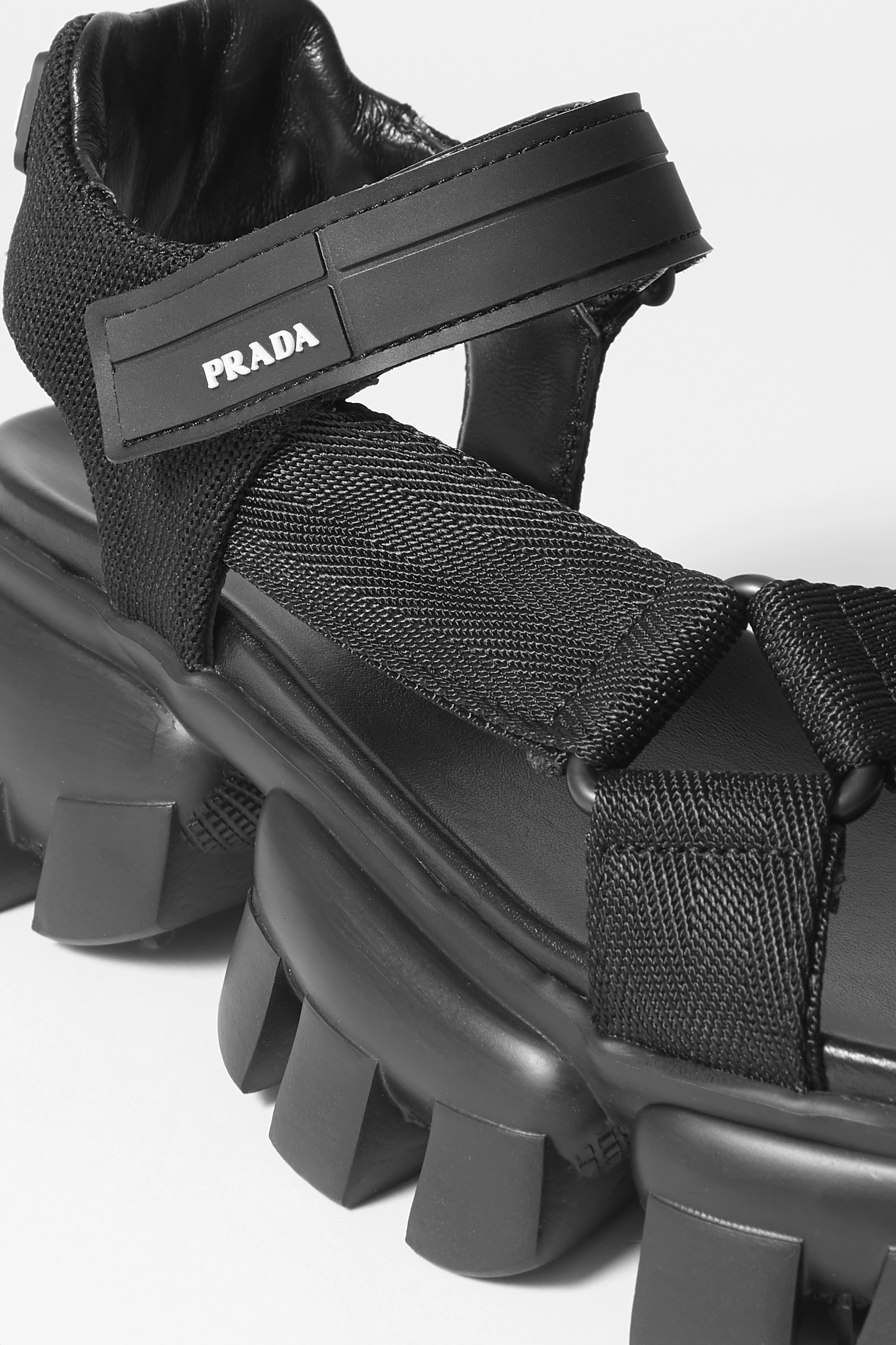 Prada Thunder rubber-trimmed canvas sandals