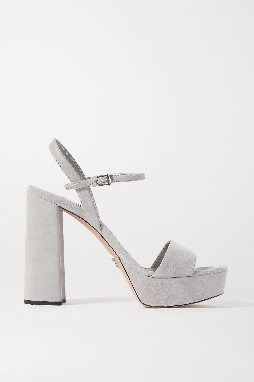 Gray 115 suede platform sandals   Prada