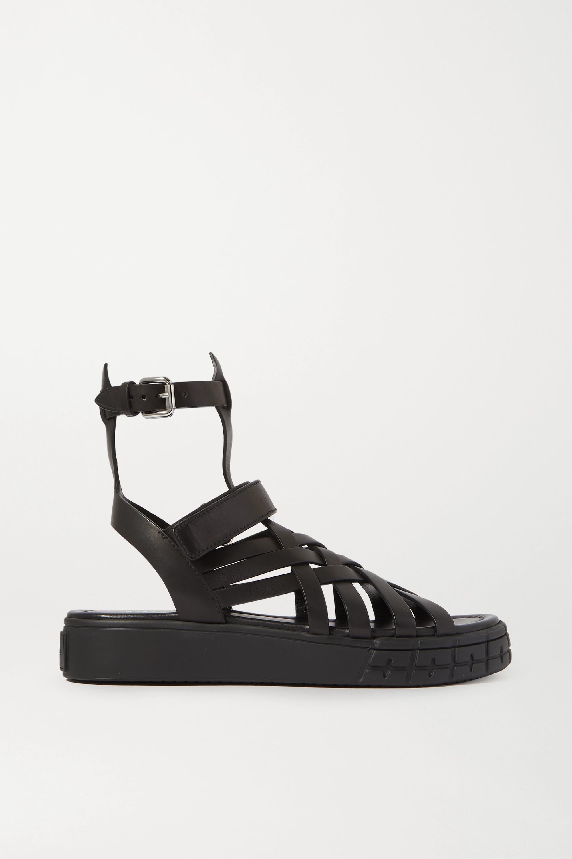 Black Leather platform sandals | Prada