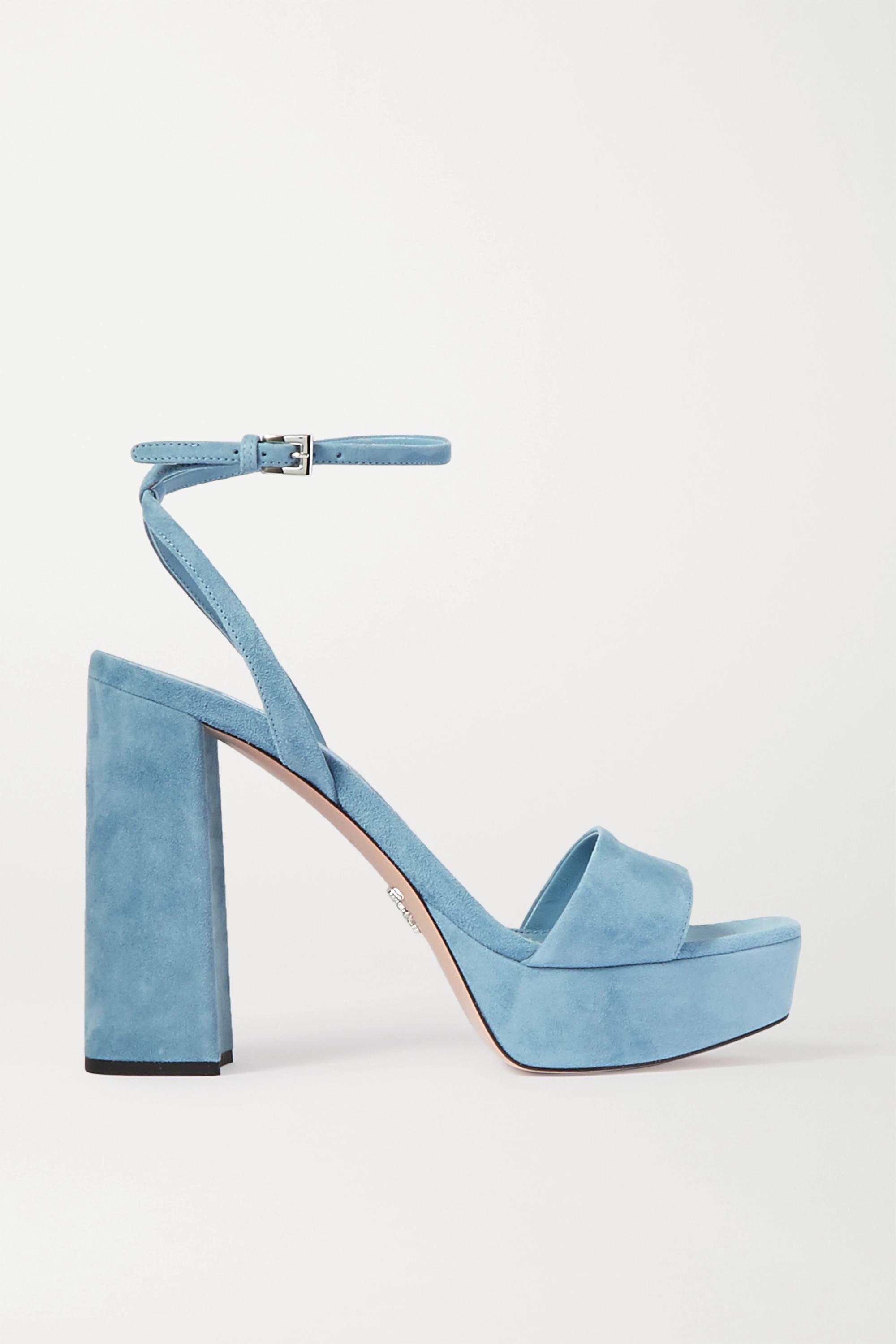 Light blue 125 suede platform sandals