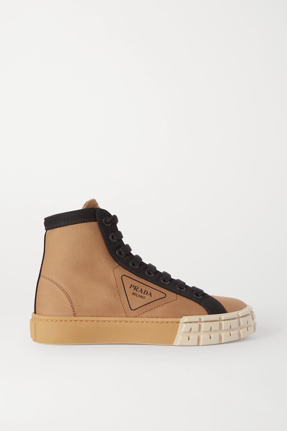 Prada Two-tone logo-print gabardine high-top sneakers