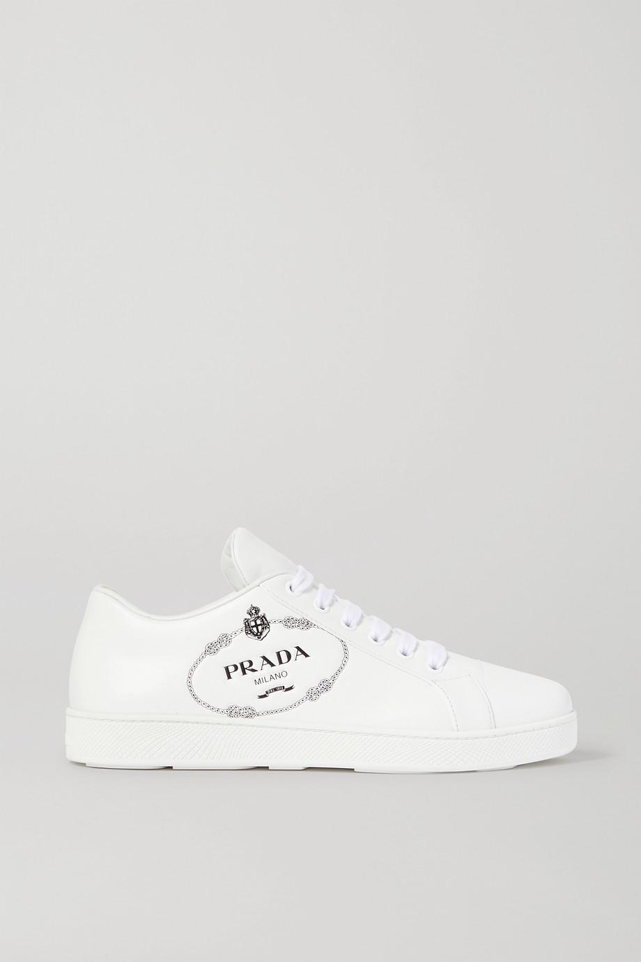 Prada Logo-embossed leather sneakers