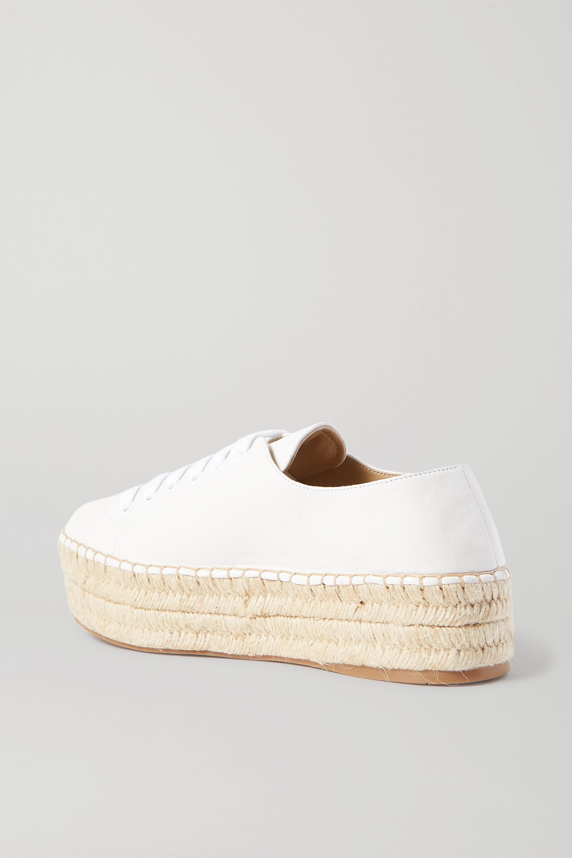 Prada Espadrille-Sneakers aus Leder mit Logostickerei und Plateau