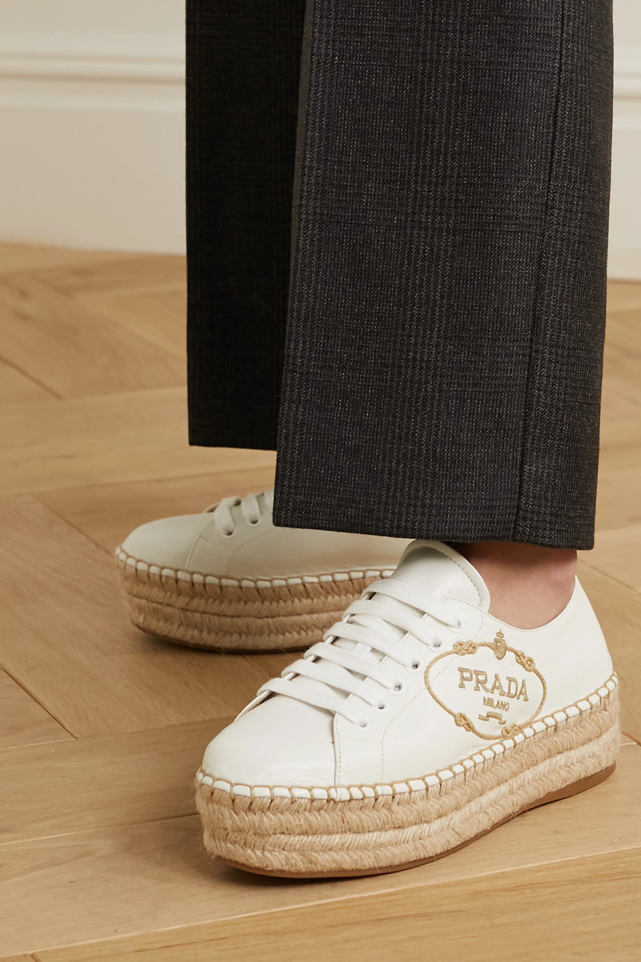 Prada Logo-embroidered leather platform espadrilles