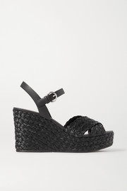 Prada Leather and raffia espadrille wedge sandals